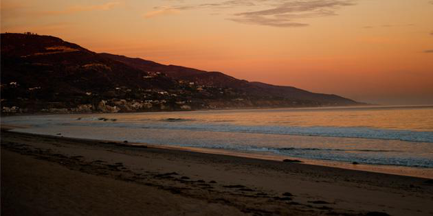 Malibu beach at sunset